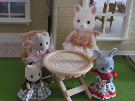 sylvanian babies + sister cat sitting outdoors